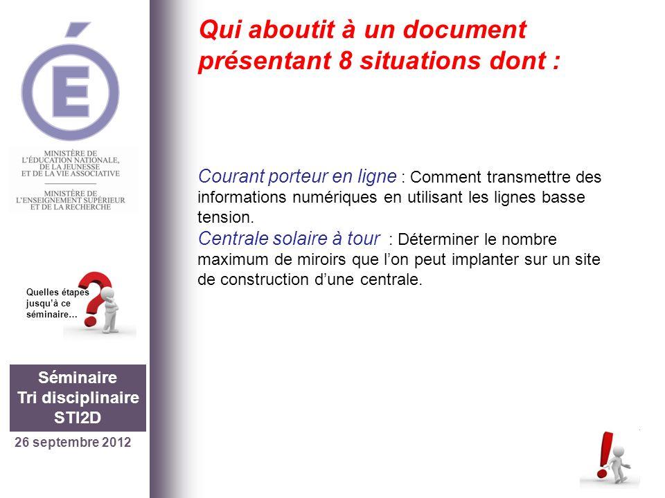 26 septembre 2012 Séminaire Tri disciplinaire STI2D Quelles étapes jusquà ce séminaire… Qui aboutit à un document présentant 8 situations dont : Coura