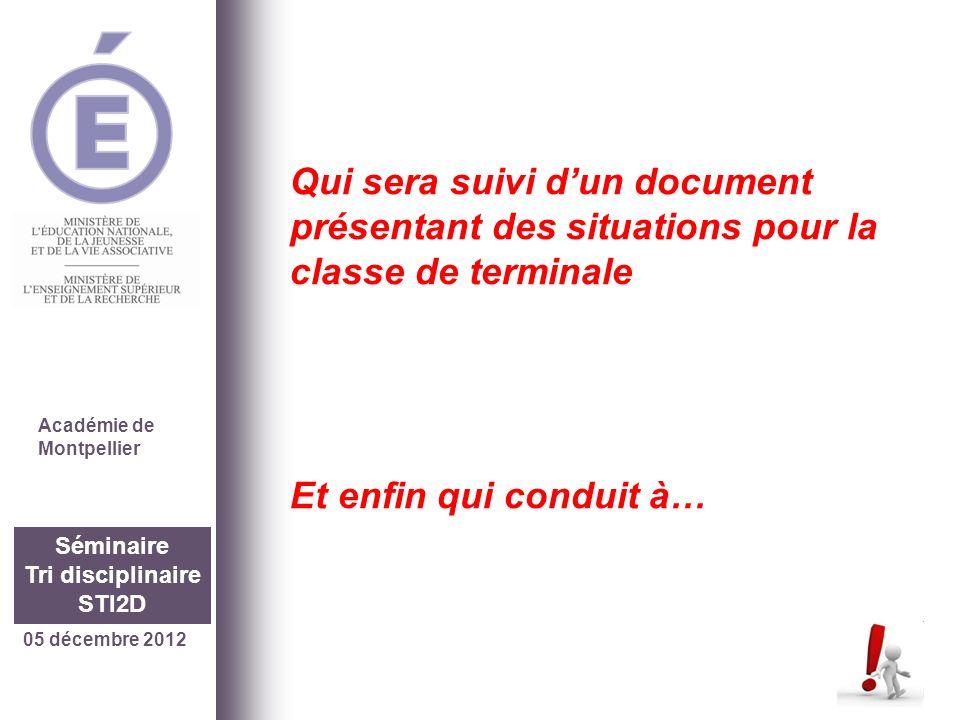 05 décembre 2012 Séminaire Tri disciplinaire STI2D Qui sera suivi dun document présentant des situations pour la classe de terminale Et enfin qui cond