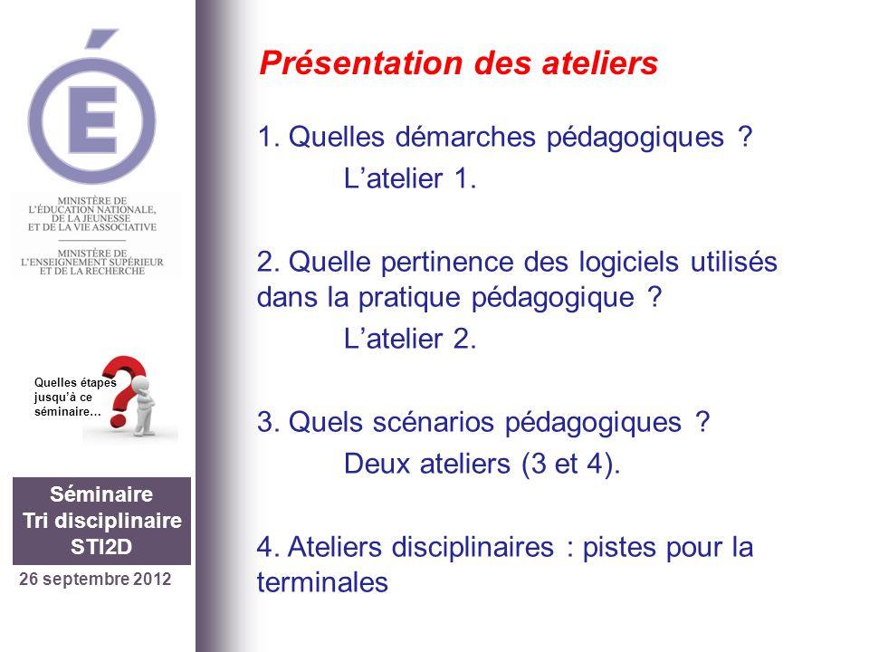 26 septembre 2012 Séminaire Tri disciplinaire STI2D Quelles étapes jusquà ce séminaire… Présentation des ateliers 1. Quelles démarches pédagogiques ?