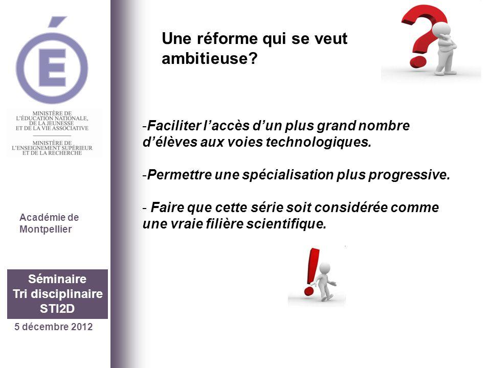 5 décembre 2012 Séminaire Tri disciplinaire STI2D Académie de Montpellier -Faciliter laccès dun plus grand nombre délèves aux voies technologiques. -P