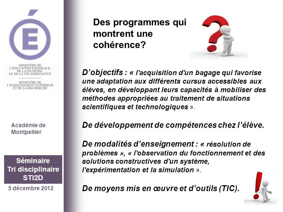 5 décembre 2012 Séminaire Tri disciplinaire STI2D Académie de Montpellier « prendre appui sur les situations expérimentales rencontrées dans les enseignements scientifiques et technologiques de la série » et « prendre en compte les besoins mathématiques des autres disciplines ».