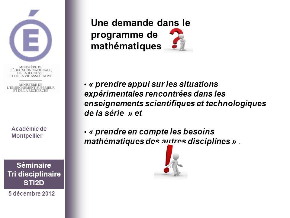 26 septembre 2012 Séminaire Tri disciplinaire STI2D Quelles étapes jusquà ce séminaire… On continue… Septembre 2011 1 académie Montpellier -Un lycée (Dhuoda à Nîmes) -8 enseignants de létablissement (2M+3PC+3STI) Les travaux tri disciplinaires commencent…