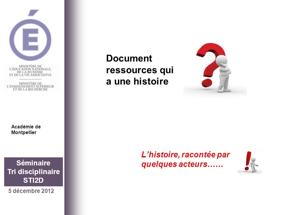 5 décembre 2012 Séminaire Tri disciplinaire STI2D Document ressources qui a une histoire Académie de Montpellier Lhistoire, racontée par quelques acte