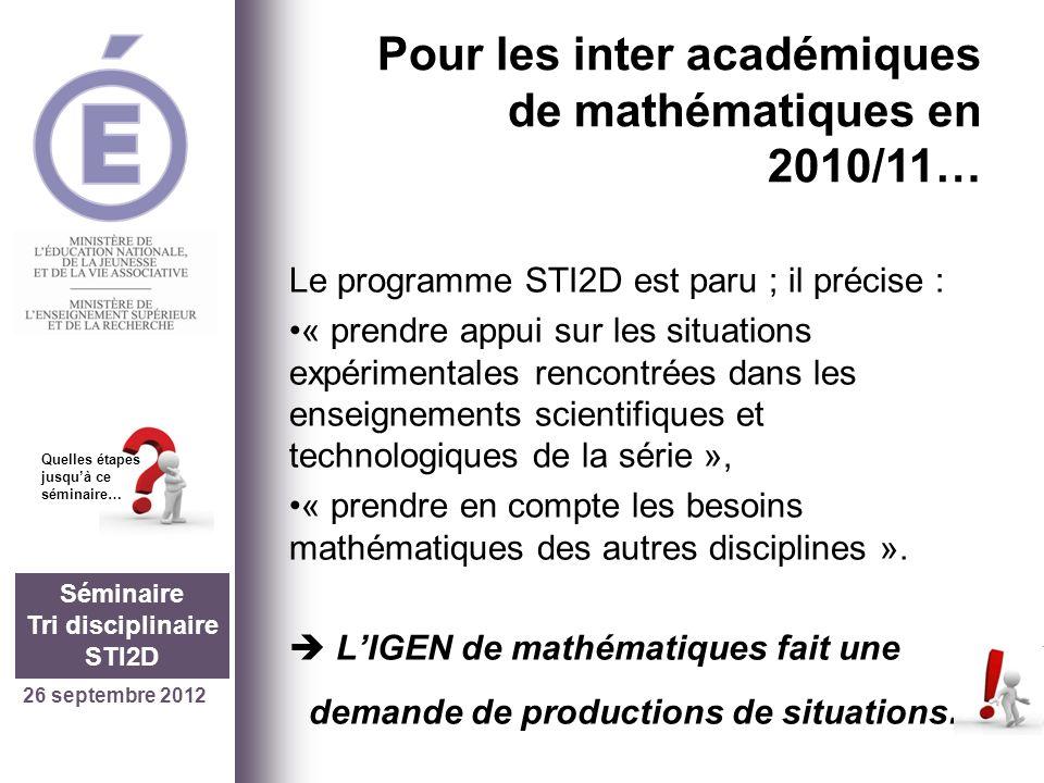 26 septembre 2012 Séminaire Tri disciplinaire STI2D Quelles étapes jusquà ce séminaire… Un premier problème (version 2)… Un vrai problème: Une résolution initiale: -étude de la fonction sinus, -Application numérique reprenant le contexte initial.