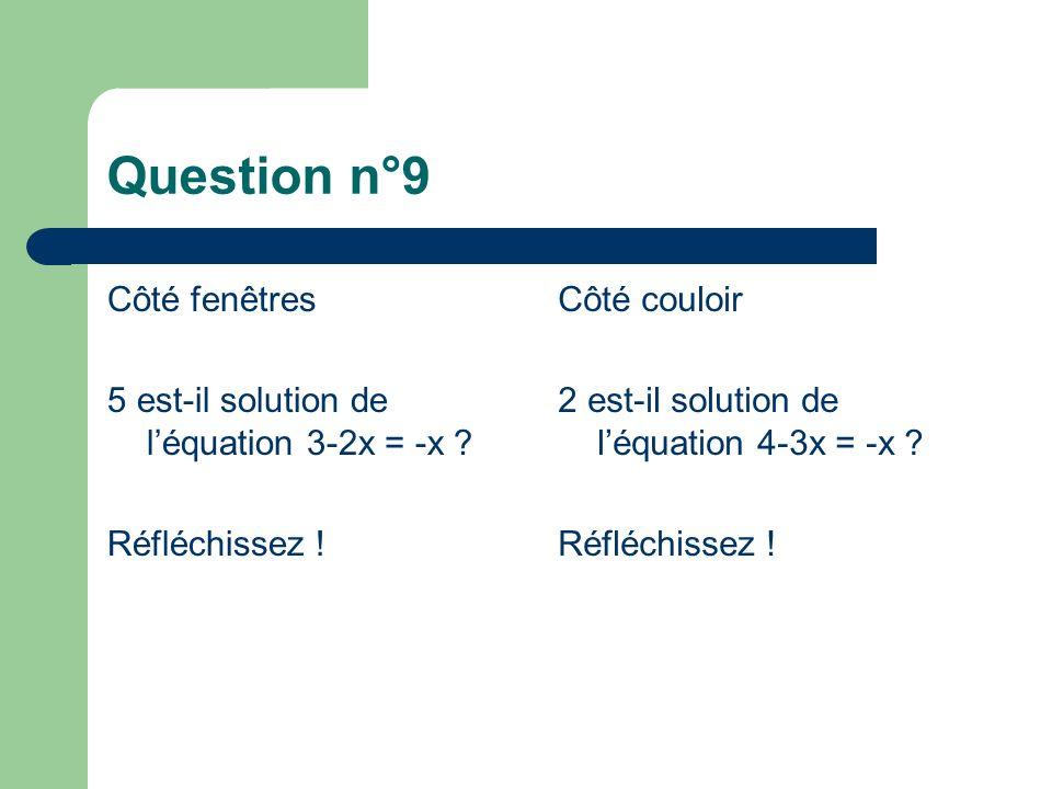 Question n°9 Côté fenêtres 5 est-il solution de léquation 3-2x = -x .