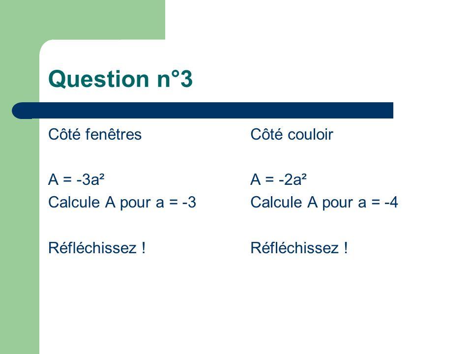 Question n°3 Côté fenêtres A = -3a² Calcule A pour a = -3 Réfléchissez .