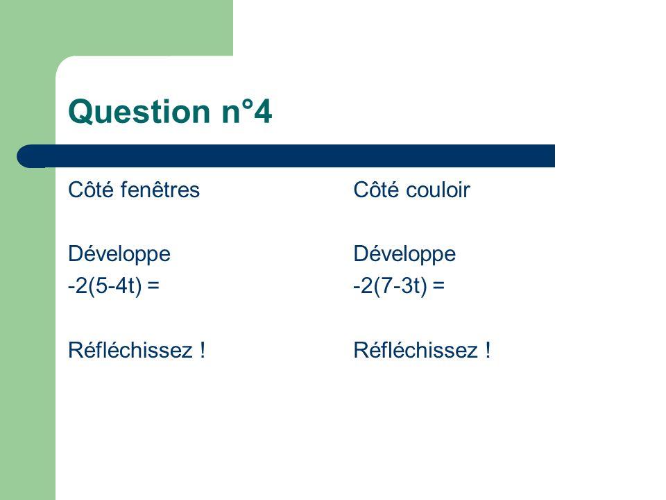 Question n°4 Côté fenêtres Développe -2(5-4t) = Réfléchissez .