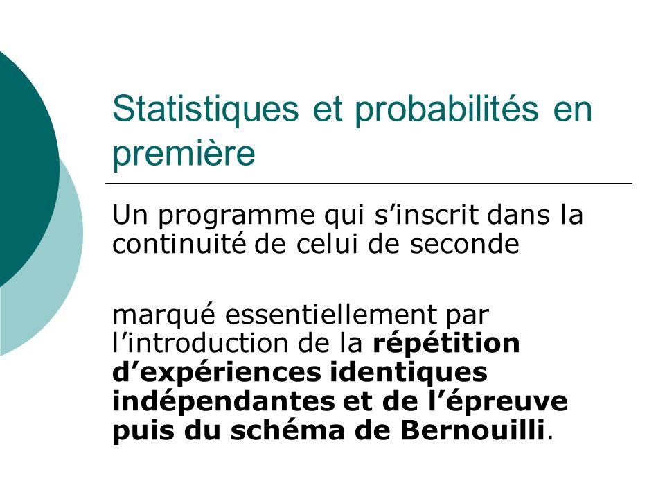 Statistiques et probabilités en première Un programme qui sinscrit dans la continuité de celui de seconde marqué essentiellement par lintroduction de
