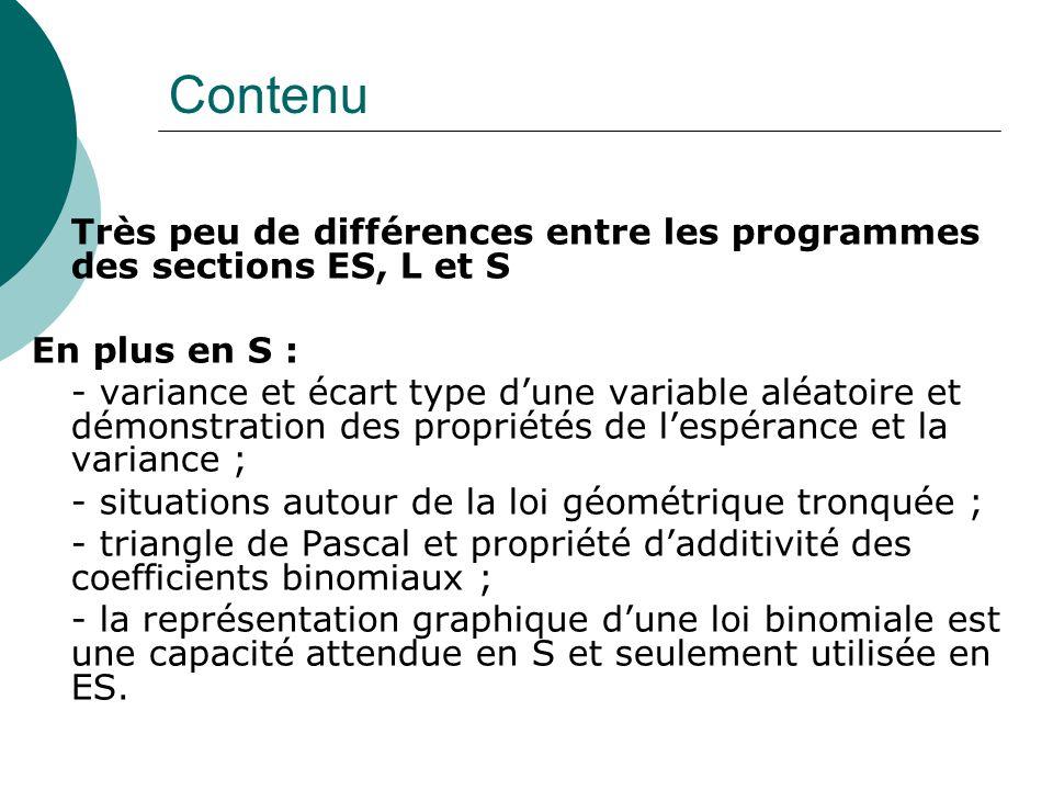 Contenu Très peu de différences entre les programmes des sections ES, L et S En plus en S : - variance et écart type dune variable aléatoire et démons