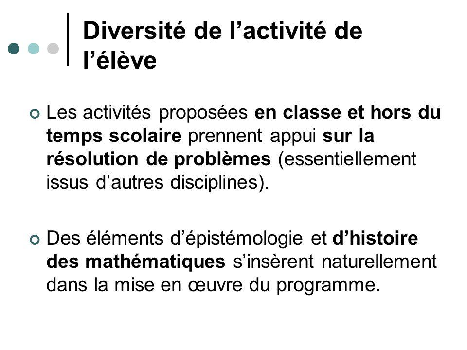 Diversité de lactivité de lélève Les activités proposées en classe et hors du temps scolaire prennent appui sur la résolution de problèmes (essentiellement issus dautres disciplines).