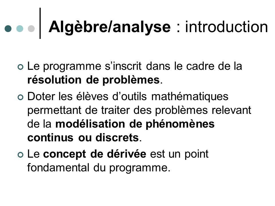 Algèbre/analyse : introduction Le programme sinscrit dans le cadre de la résolution de problèmes.