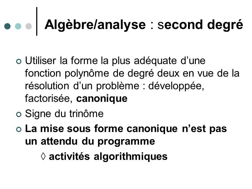 Algèbre/analyse : second degré Utiliser la forme la plus adéquate dune fonction polynôme de degré deux en vue de la résolution dun problème : développée, factorisée, canonique Signe du trinôme La mise sous forme canonique nest pas un attendu du programme activités algorithmiques