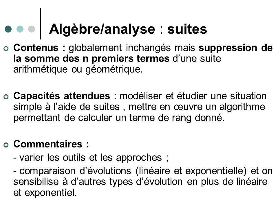 Algèbre/analyse : suites Contenus : globalement inchangés mais suppression de la somme des n premiers termes dune suite arithmétique ou géométrique.