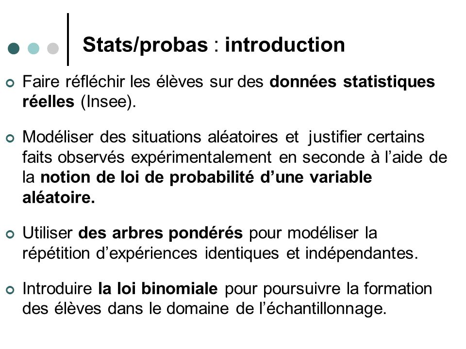 Stats/probas : introduction Faire réfléchir les élèves sur des données statistiques réelles (Insee).