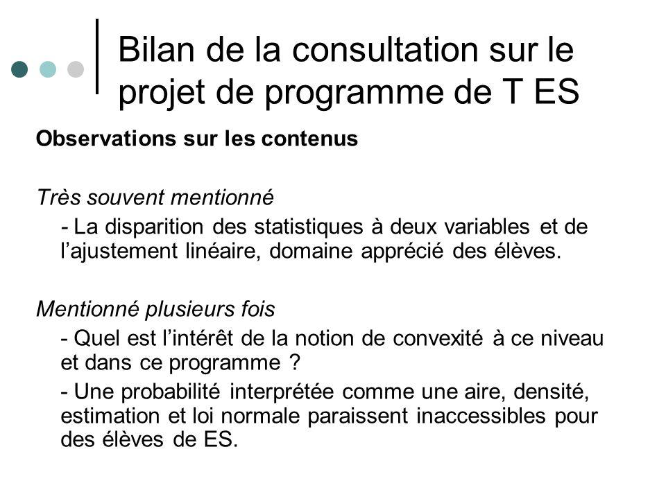 Bilan de la consultation sur le projet de programme de T ES Remarques - Absence de lintégration par parties non compatible avec certains calculs en probabilité (moyenne …) - Pertinence de la suppression de lespace et des suites car lhoraire diminue.