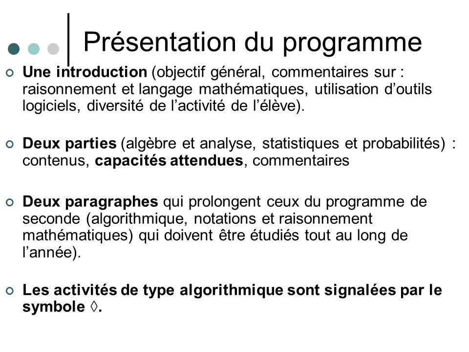 Présentation du programme Une introduction (objectif général, commentaires sur : raisonnement et langage mathématiques, utilisation doutils logiciels, diversité de lactivité de lélève).