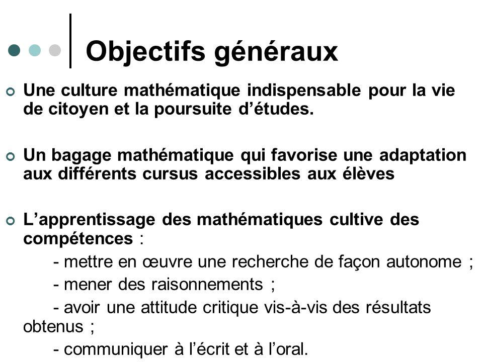 Objectifs généraux Une culture mathématique indispensable pour la vie de citoyen et la poursuite détudes.