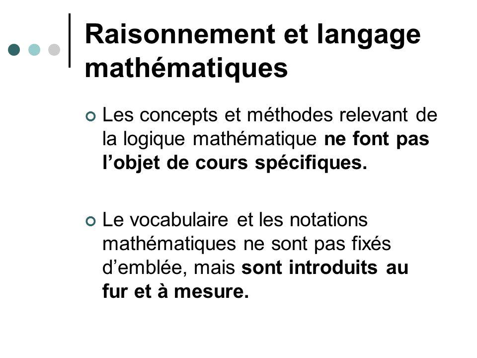 Raisonnement et langage mathématiques Les concepts et méthodes relevant de la logique mathématique ne font pas lobjet de cours spécifiques.