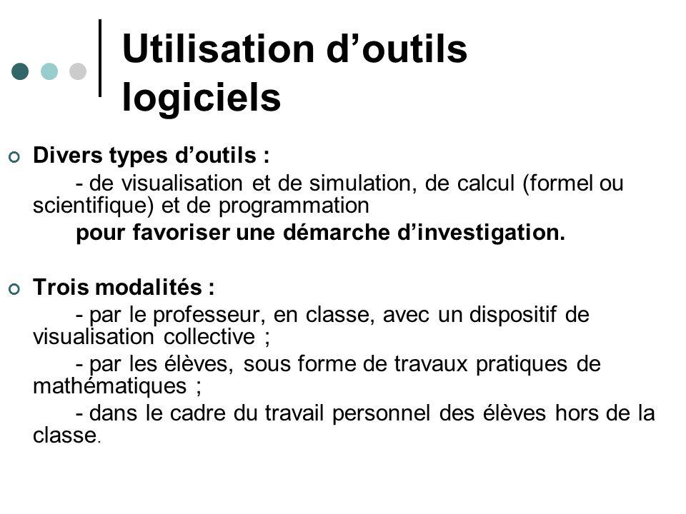 Utilisation doutils logiciels Divers types doutils : - de visualisation et de simulation, de calcul (formel ou scientifique) et de programmation pour favoriser une démarche dinvestigation.