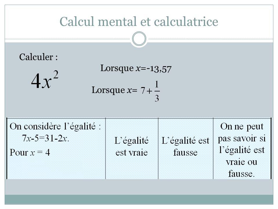 Calcul mental et calculatrice Calculer : Lorsque x=-13,57 Lorsque x=