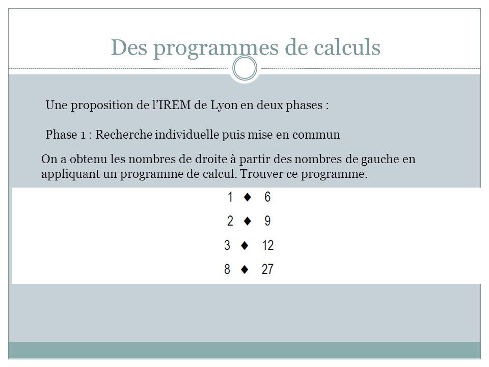 Des programmes de calculs Une proposition de lIREM de Lyon en deux phases : Phase 1 : Recherche individuelle puis mise en commun On a obtenu les nombres de droite à partir des nombres de gauche en appliquant un programme de calcul.