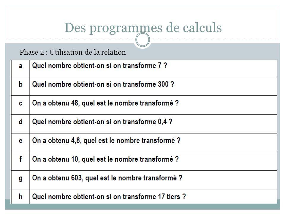 Des programmes de calculs Phase 2 : Utilisation de la relation