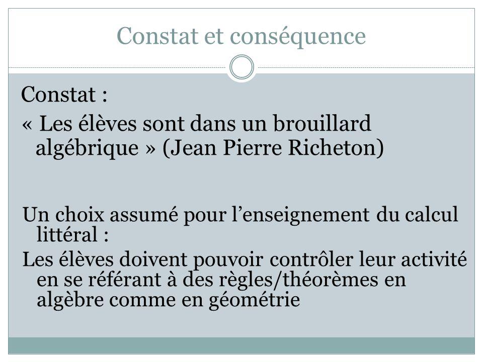 Constat et conséquence Constat : « Les élèves sont dans un brouillard algébrique » (Jean Pierre Richeton) Un choix assumé pour lenseignement du calcul littéral : Les élèves doivent pouvoir contrôler leur activité en se référant à des règles/théorèmes en algèbre comme en géométrie