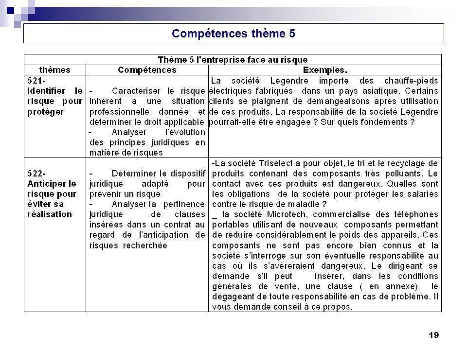 19 Compétences thème 5