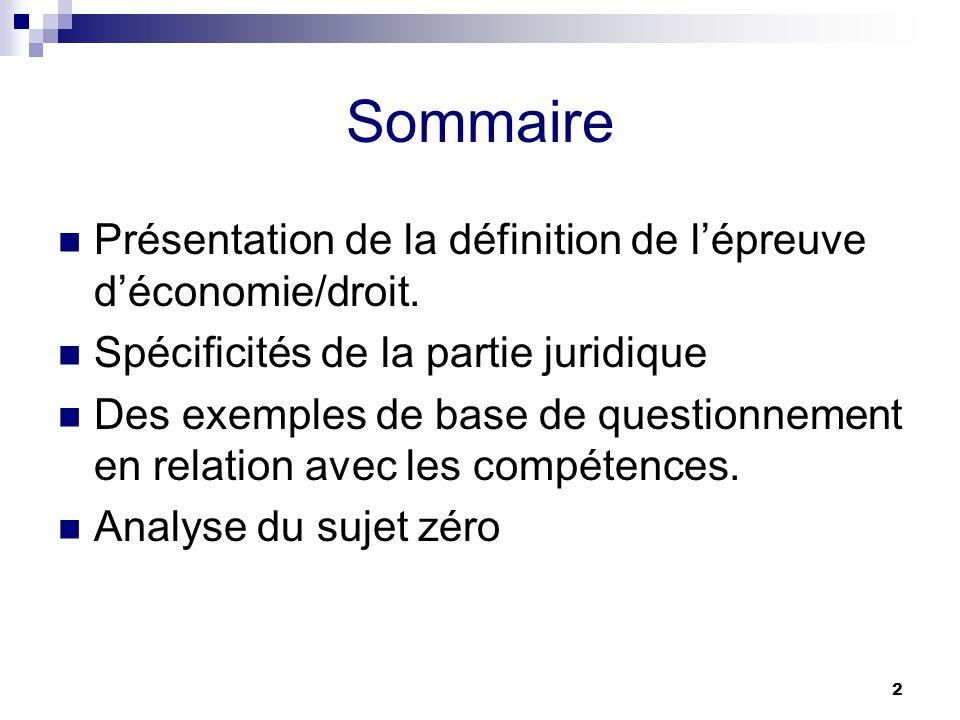 2 Sommaire Présentation de la définition de lépreuve déconomie/droit. Spécificités de la partie juridique Des exemples de base de questionnement en re
