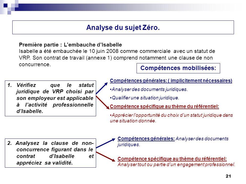21 Analyse du sujet Zéro. 2. Analysez la clause de non- concurrence figurant dans le contrat dIsabelle et appréciez sa validité. Première partie : Lem