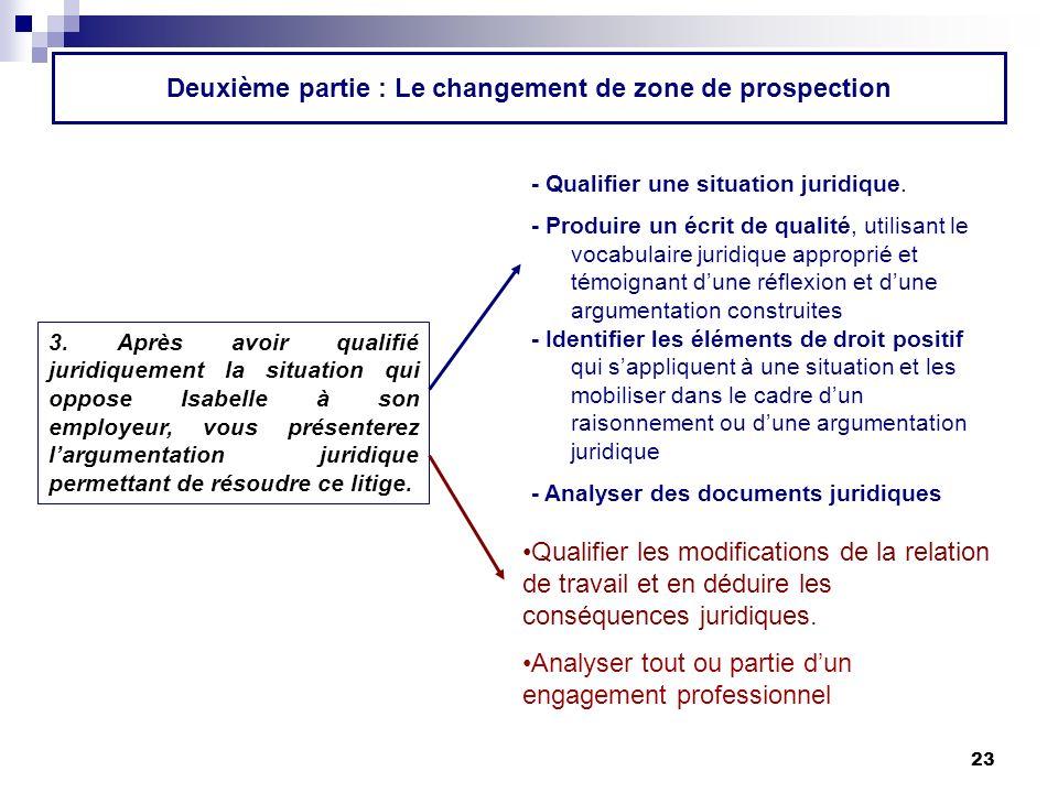 23 Deuxième partie : Le changement de zone de prospection 3. Après avoir qualifié juridiquement la situation qui oppose Isabelle à son employeur, vous