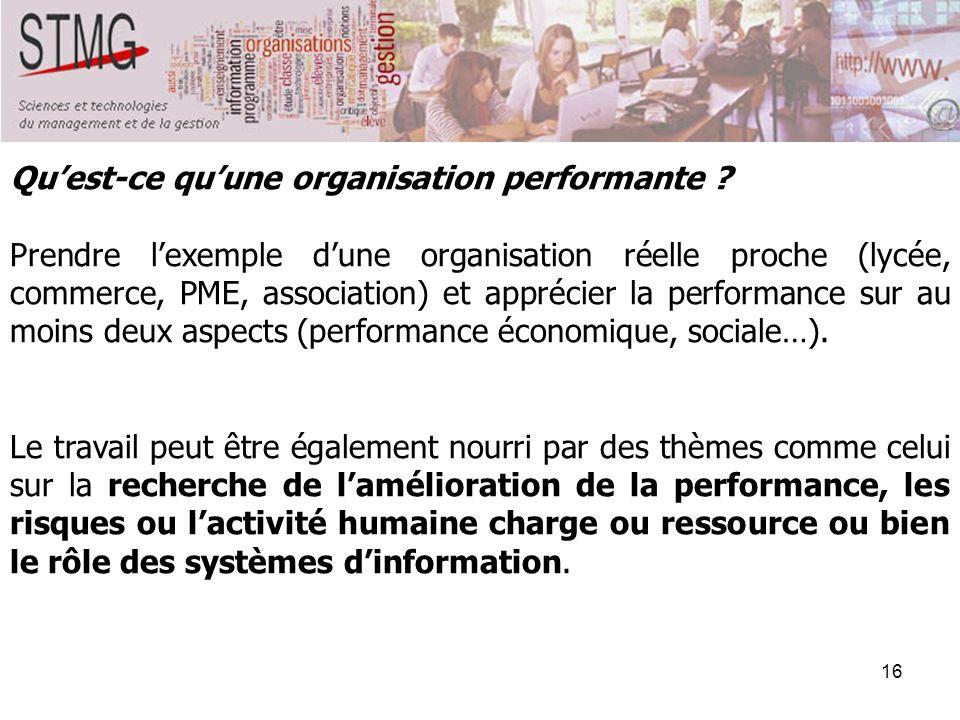 16 Quest-ce quune organisation performante ? Prendre lexemple dune organisation réelle proche (lycée, commerce, PME, association) et apprécier la perf