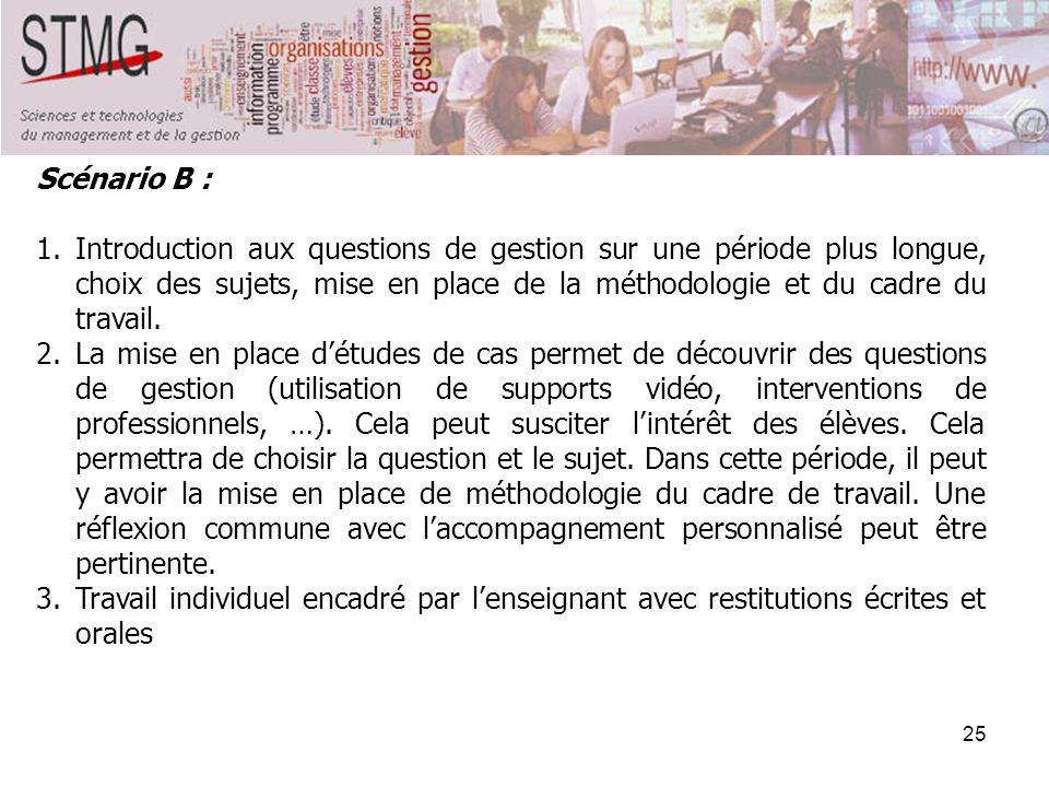 25 Scénario B : 1.Introduction aux questions de gestion sur une période plus longue, choix des sujets, mise en place de la méthodologie et du cadre du
