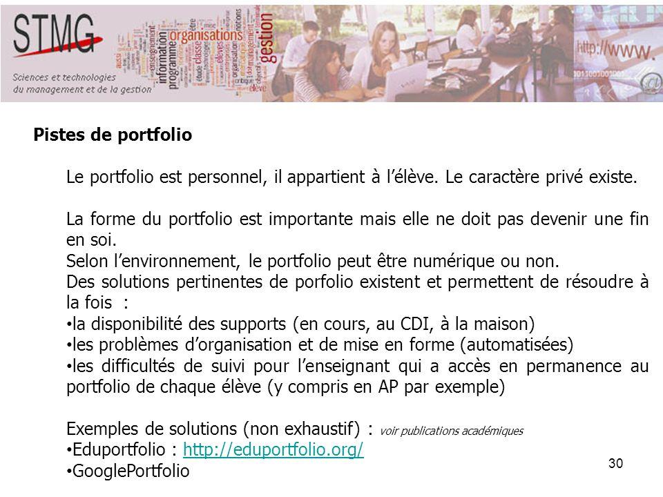 30 Pistes de portfolio Le portfolio est personnel, il appartient à lélève. Le caractère privé existe. La forme du portfolio est importante mais elle n