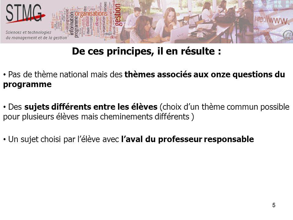 5 De ces principes, il en résulte : Pas de thème national mais des thèmes associés aux onze questions du programme Des sujets différents entre les élè