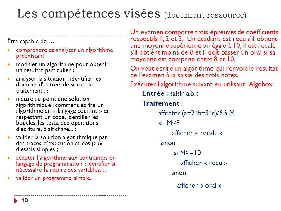 Les compétences visées (document ressource) 10 Être capable de … comprendre et analyser un algorithme préexistant ; modifier un algorithme pour obteni