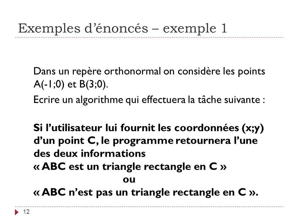 Exemples dénoncés – exemple 1 12 Dans un repère orthonormal on considère les points A(-1;0) et B(3;0). Ecrire un algorithme qui effectuera la tâche su