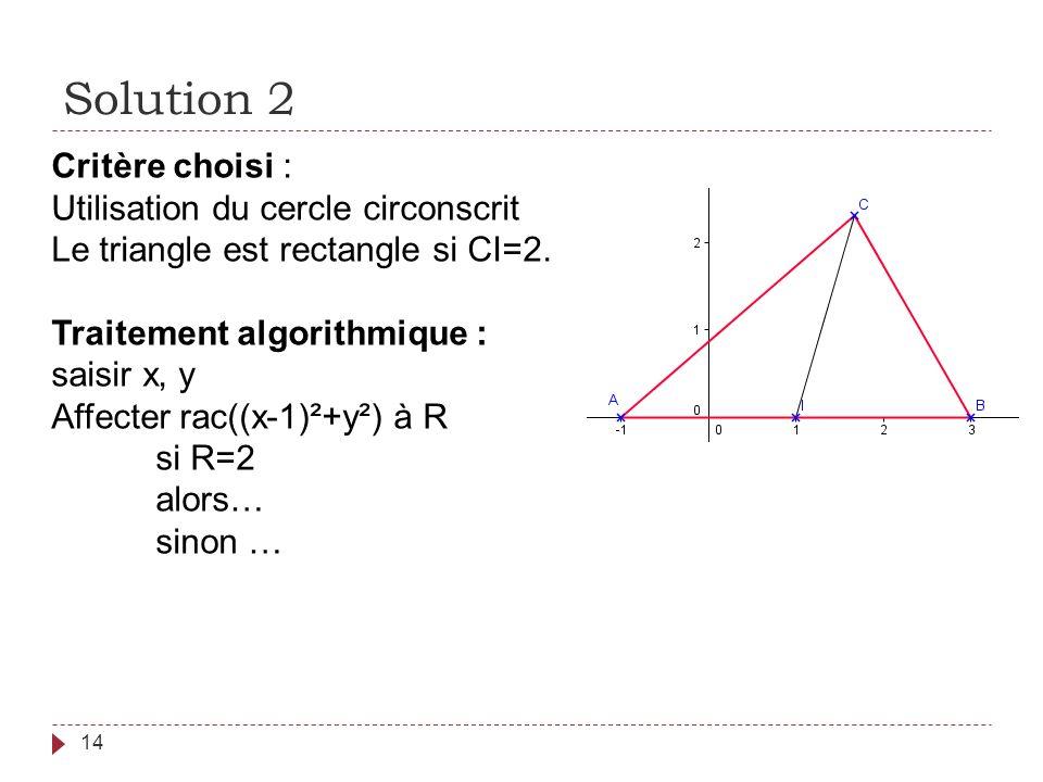 Solution 2 14 Critère choisi : Utilisation du cercle circonscrit Le triangle est rectangle si CI=2. Traitement algorithmique : saisir x, y Affecter ra