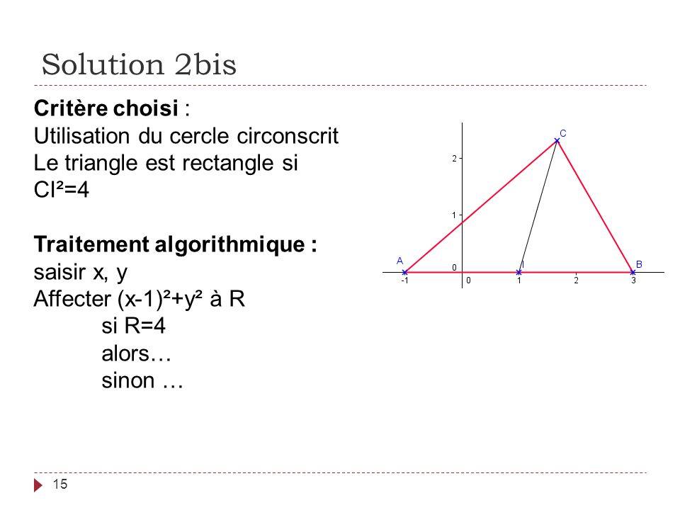 Solution 2bis 15 Critère choisi : Utilisation du cercle circonscrit Le triangle est rectangle si CI²=4 Traitement algorithmique : saisir x, y Affecter