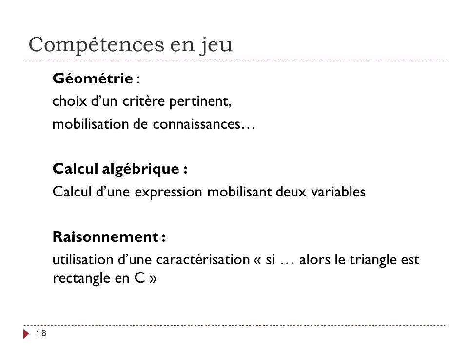 Compétences en jeu 18 Géométrie : choix dun critère pertinent, mobilisation de connaissances… Calcul algébrique : Calcul dune expression mobilisant de