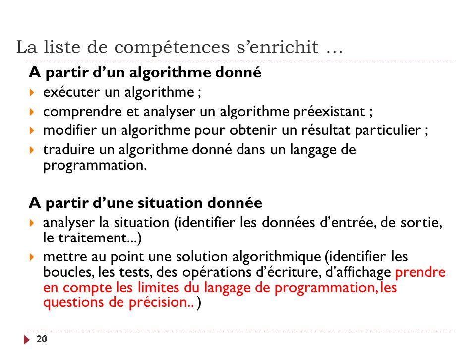 La liste de compétences senrichit … 20 A partir dun algorithme donné exécuter un algorithme ; comprendre et analyser un algorithme préexistant ; modif