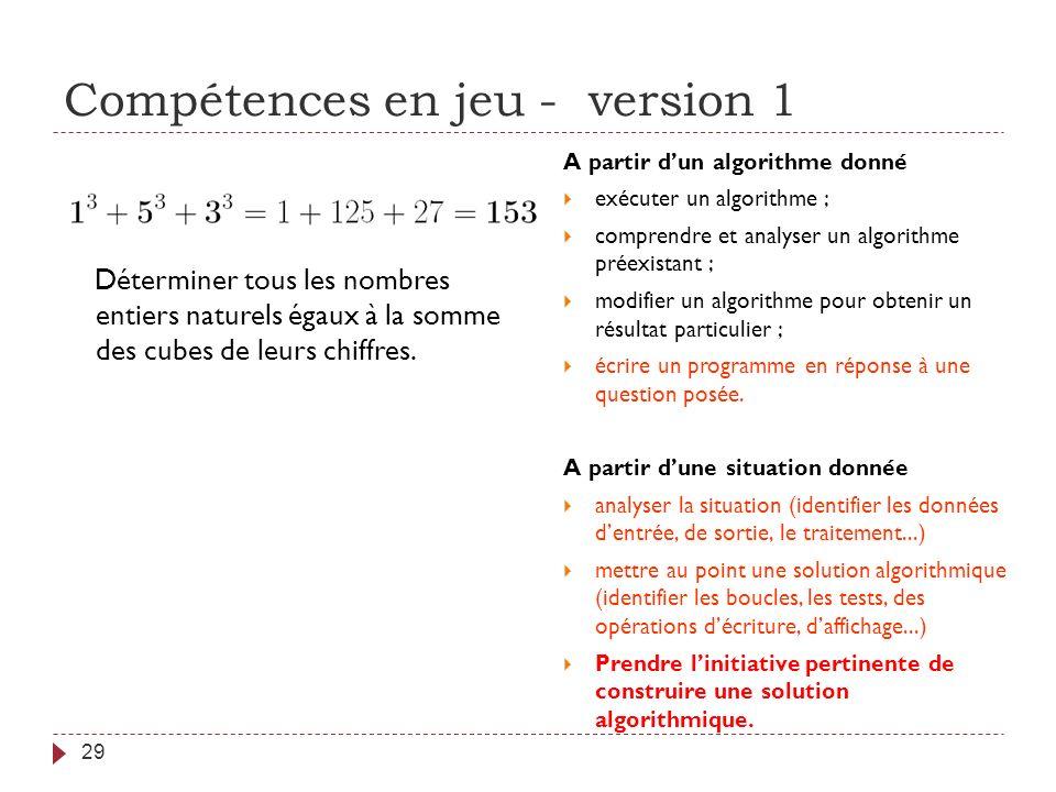 Compétences en jeu - version 1 29 Déterminer tous les nombres entiers naturels égaux à la somme des cubes de leurs chiffres. A partir dun algorithme d