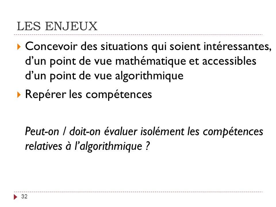 LES ENJEUX 32 Concevoir des situations qui soient intéressantes, dun point de vue mathématique et accessibles dun point de vue algorithmique Repérer l