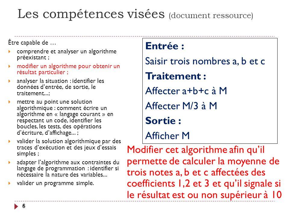 Remarques 17 Suivant le critère choisi, le traitement est plus ou moins complexe, et requiert ou non des variables supplémentaires.
