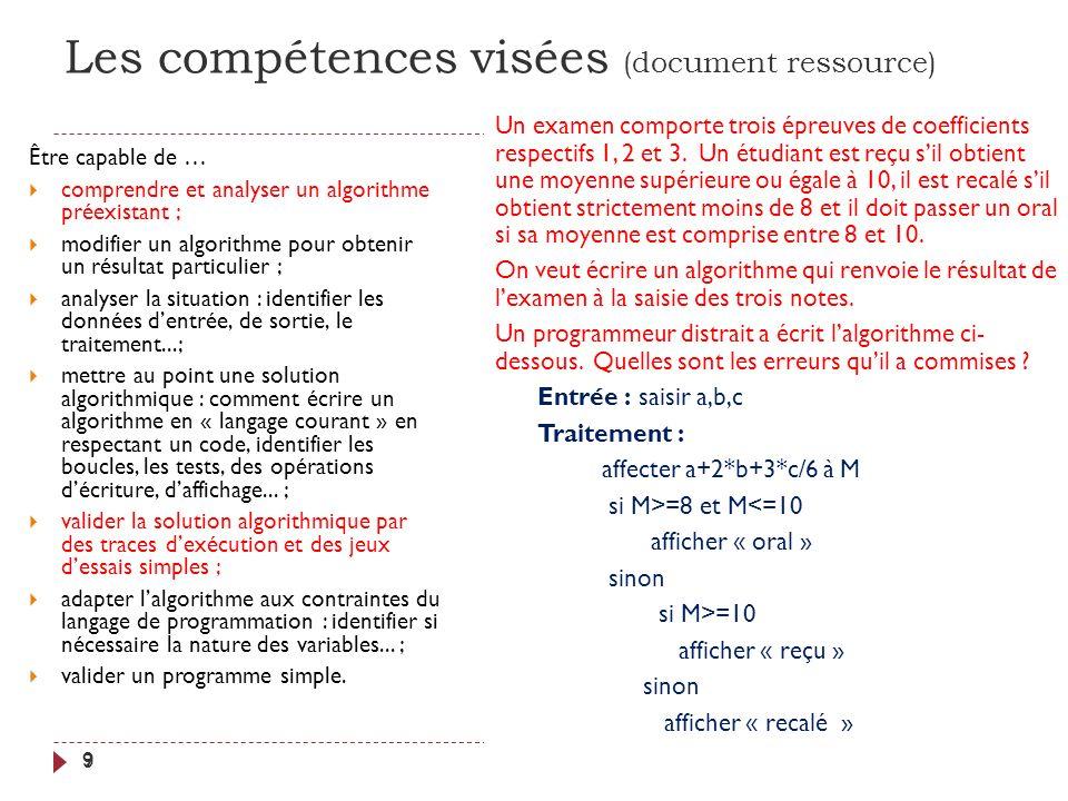 Les compétences visées (document ressource) 9 Être capable de … comprendre et analyser un algorithme préexistant ; modifier un algorithme pour obtenir