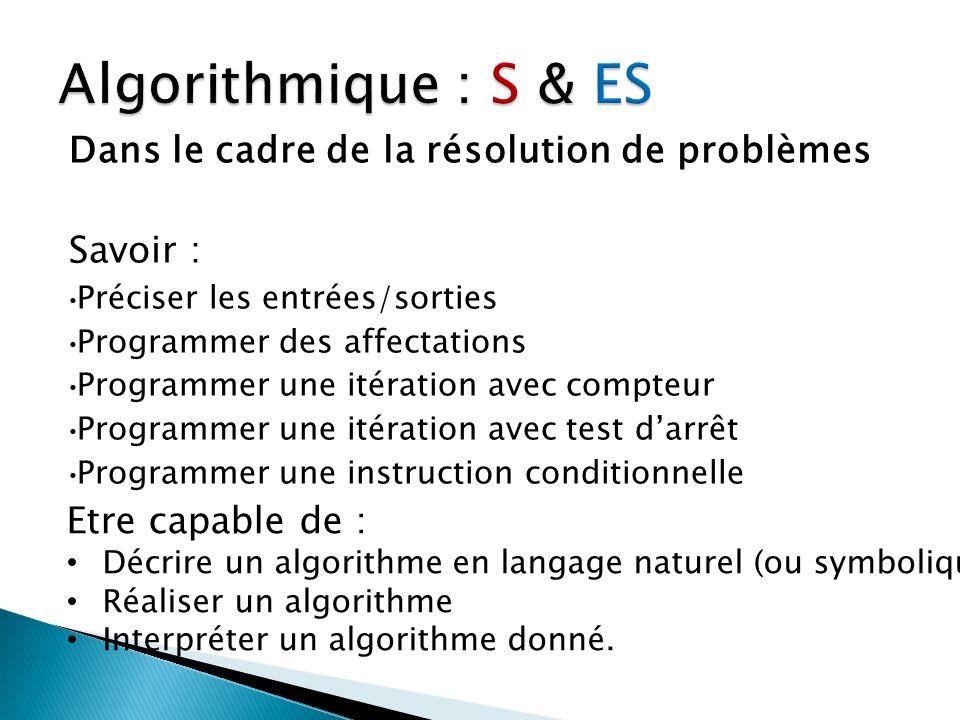 Dans le cadre de la résolution de problèmes Savoir : Préciser les entrées/sorties Programmer des affectations Programmer une itération avec compteur P