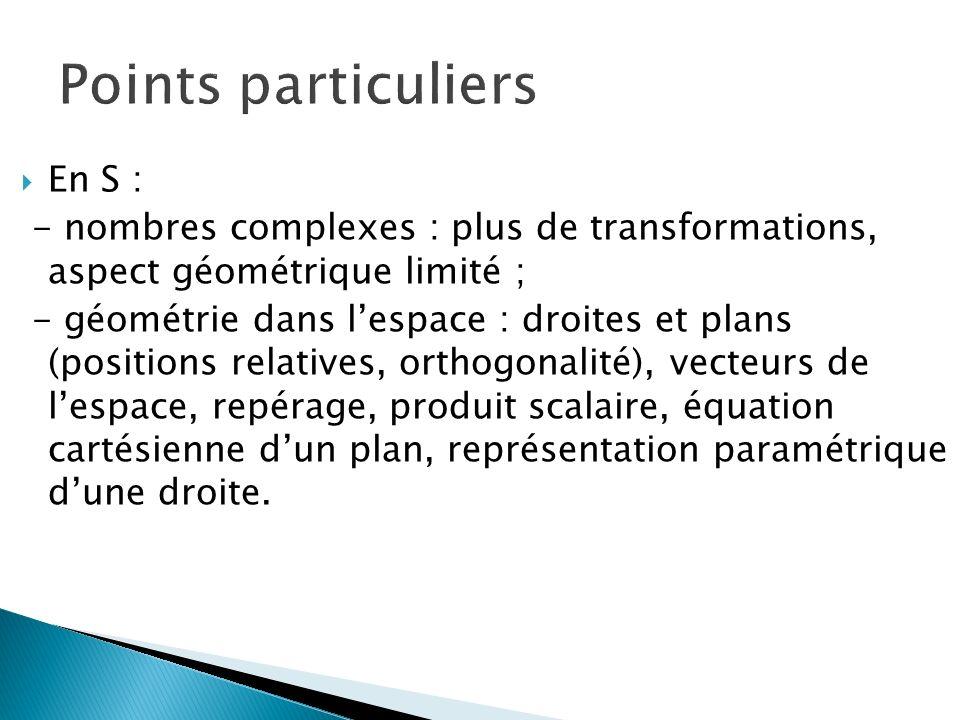 En S : - nombres complexes : plus de transformations, aspect géométrique limité ; - géométrie dans lespace : droites et plans (positions relatives, or