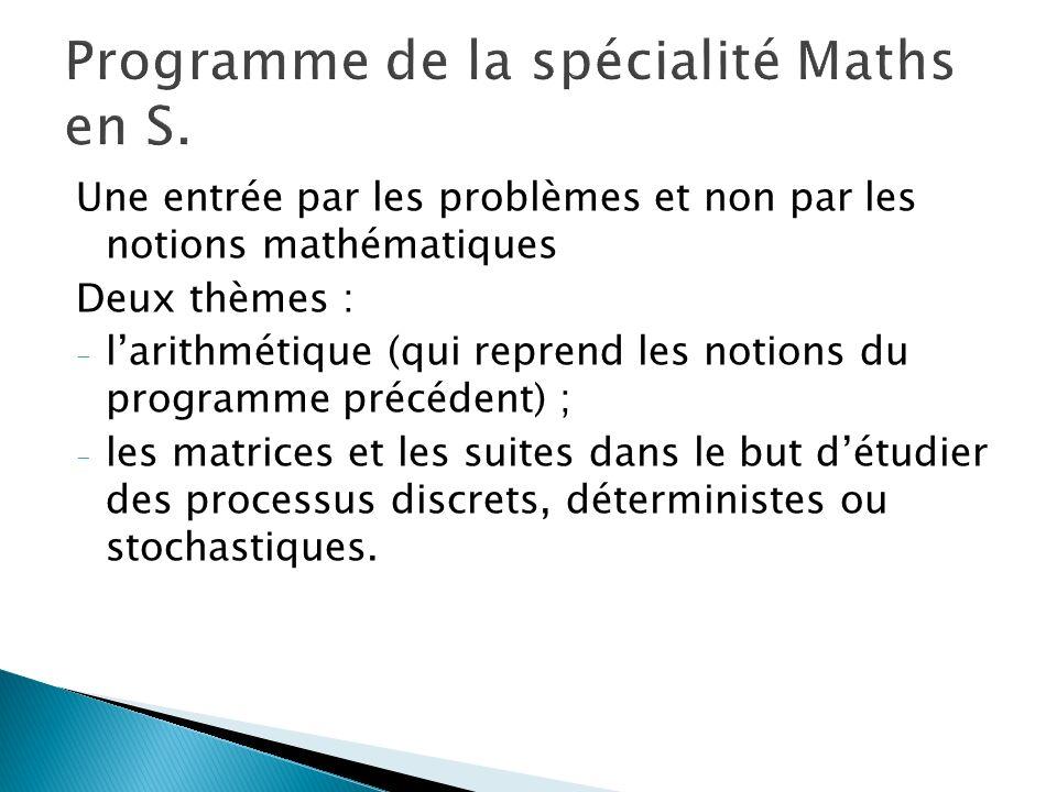 Une entrée par les problèmes et non par les notions mathématiques Deux thèmes : - larithmétique (qui reprend les notions du programme précédent) ; - l