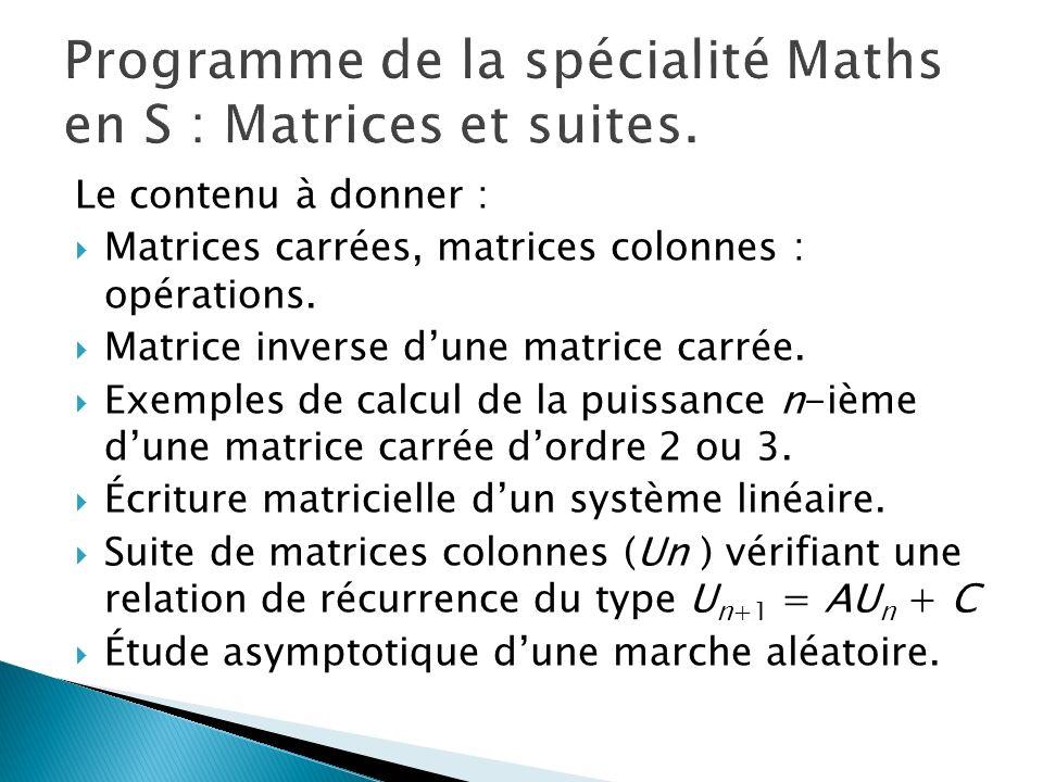 Le contenu à donner : Matrices carrées, matrices colonnes : opérations. Matrice inverse dune matrice carrée. Exemples de calcul de la puissance n-ième