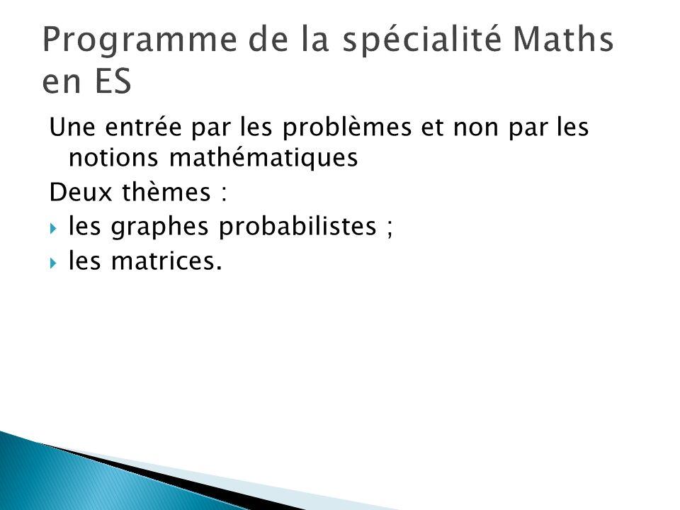Une entrée par les problèmes et non par les notions mathématiques Deux thèmes : les graphes probabilistes ; les matrices.